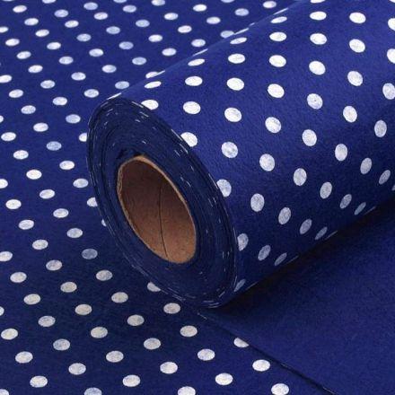 Galanterie: Plsť / filc šíře 40 cm puntík - modrá