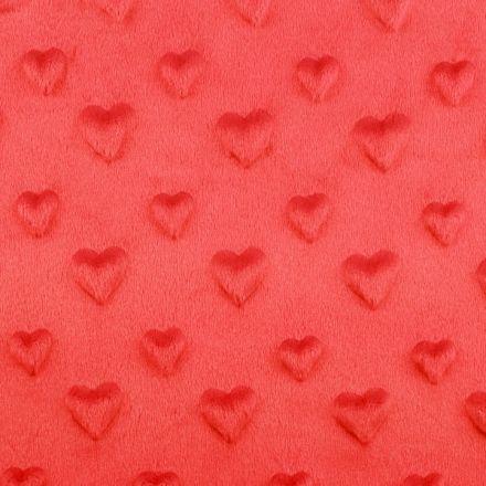 Metráž: Minky 3D srdce - červená