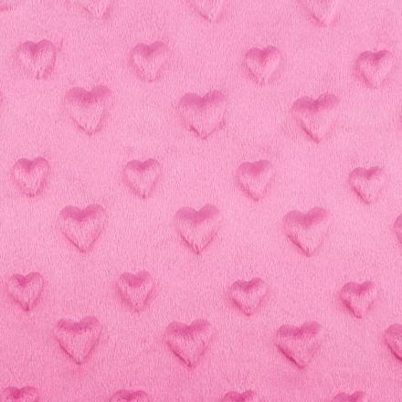 Metráž: Minky 3D srdce - růžová tmavá