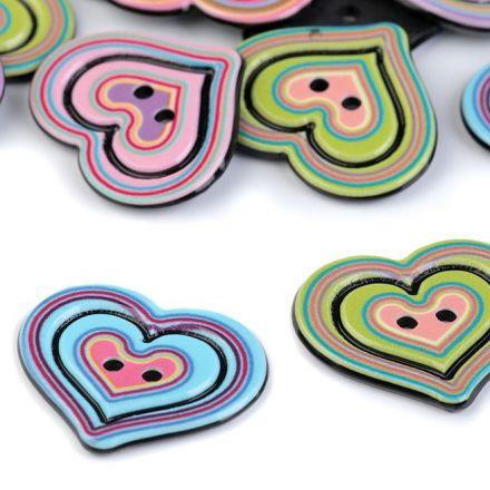 Galanterie: Plastový knoflík srdce