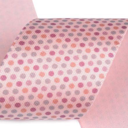 Galanterie: Saténová pruženka šíře 50 mm - pudrová puntík
