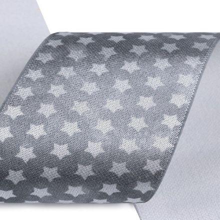 Galanterie: Saténová pruženka šíře 50 mm - šedá hvězdy