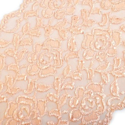 Galanterie: Elastická krajka šíře 16 cm - lososová