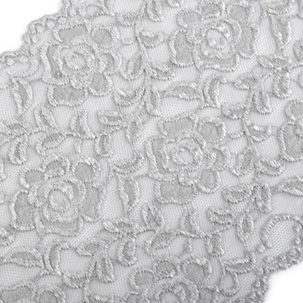 Galanterie: Elastická krajka šíře 16 cm - šedá