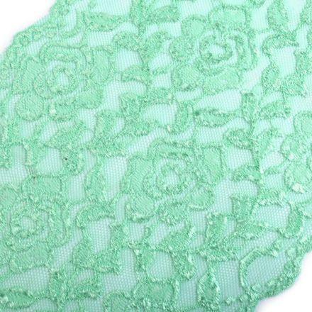 Galanterie: Elastická krajka šíře 16 cm - mint