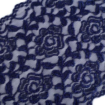 Galanterie: Elastická krajka šíře 16 cm - modrá