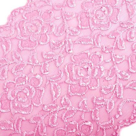 Galanterie: Elastická krajka šíře 16 cm - růžová
