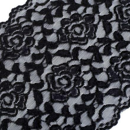Galanterie: Elastická krajka šíře 16 cm - černá