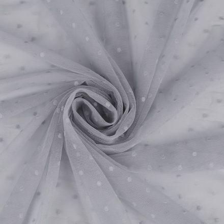 Metráž: Elastický tyl s puntíky - šedá