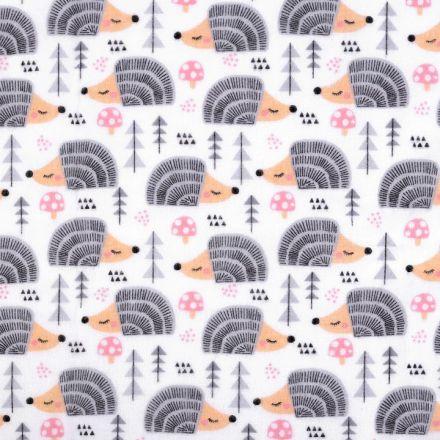 Metráž: Bavlněný flanel šíře 160 cm - ježci