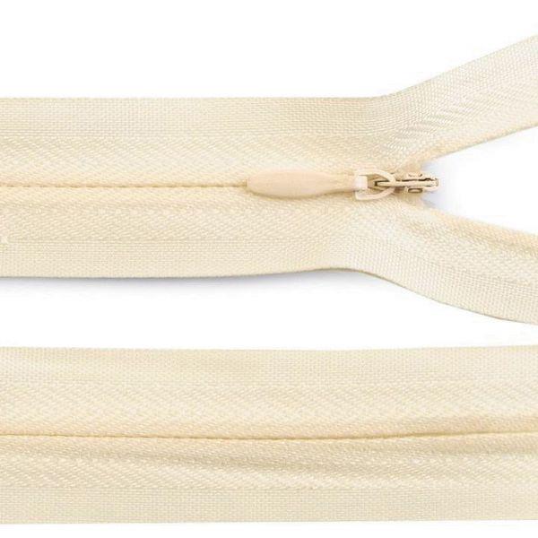 Skrytý zip nedělitelný 60 cm - krémová sv.
