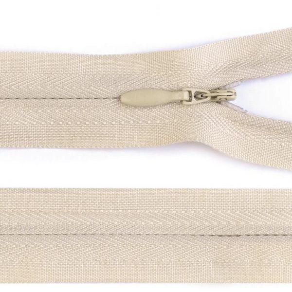 Skrytý zip nedělitelný 60 cm - krémová