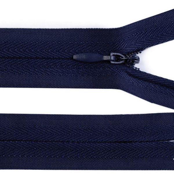 Skrytý zip nedělitelný 60 cm - modrá