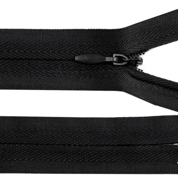 Skrytý zip nedělitelný 60 cm - černá