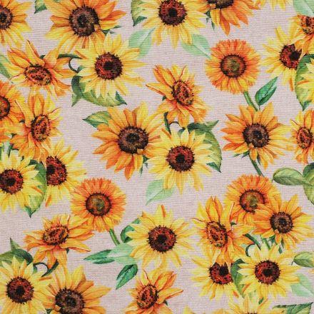 Metráž: Dekorační látka šíře 140 cm - slunečnice