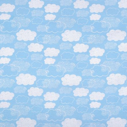 Metráž: Dekorační látka šíře 140 cm - mraky modrá
