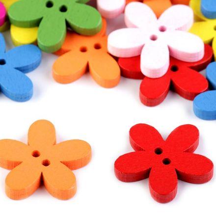 Galanterie: Dřevěný dekorační knoflík květ 25 mm (5ks)
