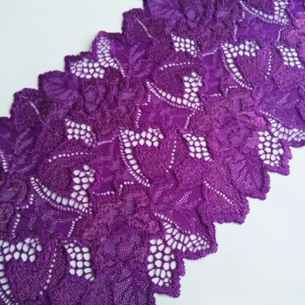 Galanterie: Elastická krajka šíře 16 cm - fialová