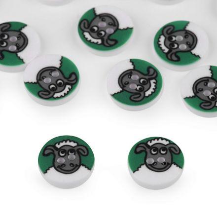 Galanterie: Knoflík plastový 12,8 mm ovečka - zelená