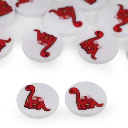 Galanterie: Knoflík plastový 15,4 mm dinosaurus - červená