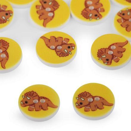 Galanterie: Knoflík plastový 15,4 mm dinosaurus - žlutá
