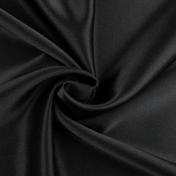 Satén krešovaný šíře 145 cm - černá