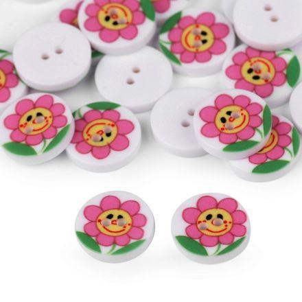 Galanterie: Knoflík plastový květ 12,8 mm - růžová
