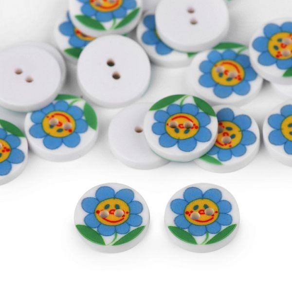 Knoflík plastový květ 12,8 mm - modrá
