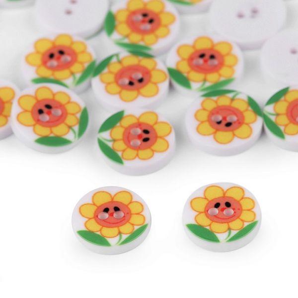 Knoflík plastový květ 12,8 mm - žlutá