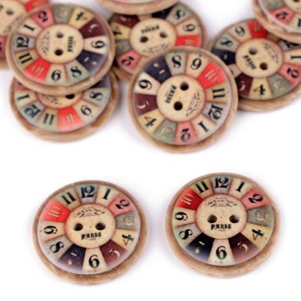 Galanterie: Knoflík dřevěný 25 mm (1ks) - hodiny