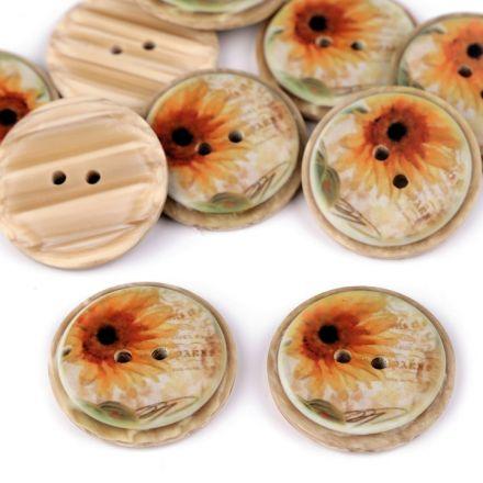 Galanterie: Knoflík dřevěný 25 mm (1ks) - slunečnice