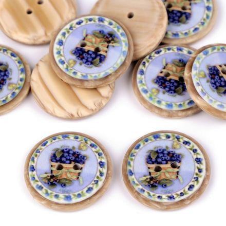 Galanterie: Knoflík dřevěný 25 mm (1ks) - borůvka