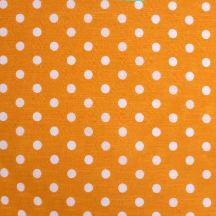 Metráž: Bavlněná látka puntíky - hořčicová