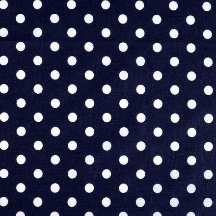 Metráž: Bavlněná látka puntíky - tmavě modrá