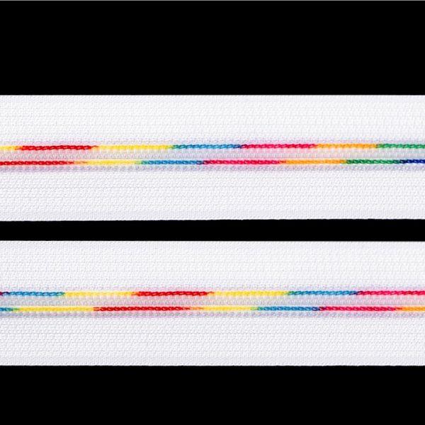 Duhový zip v metráži šíře 6 mm (1m) - bílá