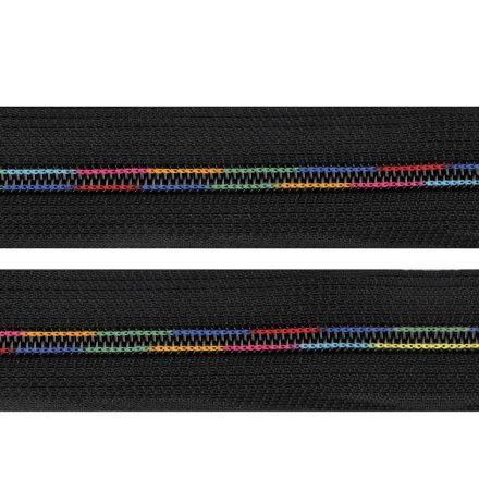 Galanterie: Duhový zip v metráži šíře 6 mm (1m) - černá