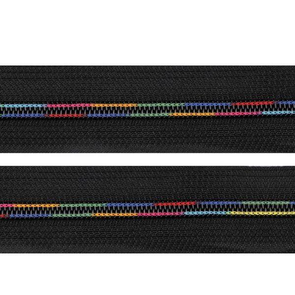 Duhový zip v metráži šíře 6 mm (1m) - černá