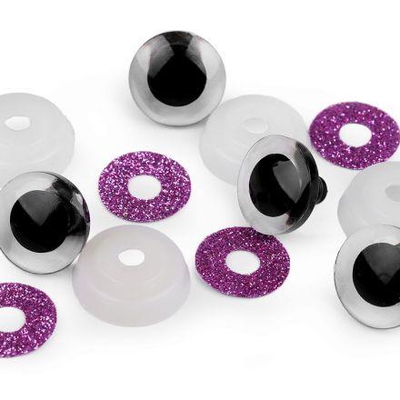 Galanterie: Bezpečnostní oči glitrové 20 mm (2 sady) - fialová
