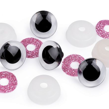 Galanterie: Bezpečnostní oči glitrové 20 mm (2 sady) - růžová