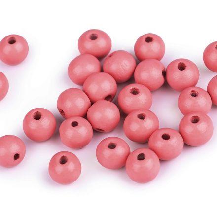 Galanterie: Dřevěné korálky 10 mm (35ks) - růžová