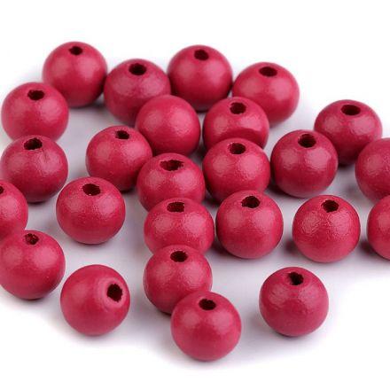 Galanterie: Dřevěné korálky 10 mm (35ks) - pink