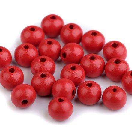 Galanterie: Dřevěné korálky 10 mm (35ks) - červená