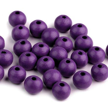 Galanterie: Dřevěné korálky 10 mm (35ks) - tmavě fialová