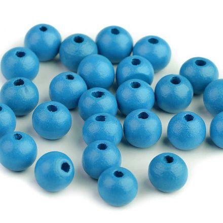 Galanterie: Dřevěné korálky 10 mm (35ks) - modrá