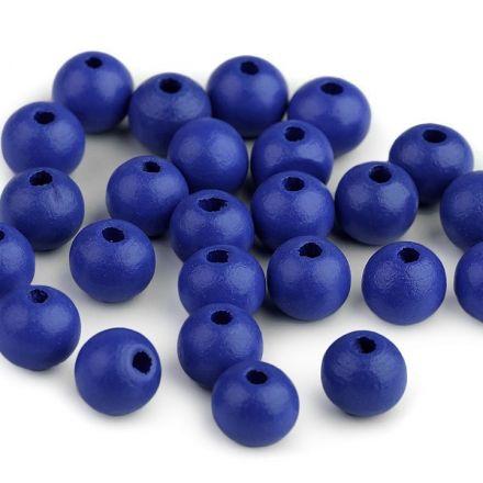 Galanterie: Dřevěné korálky 10 mm (35ks) - modrá berlínská
