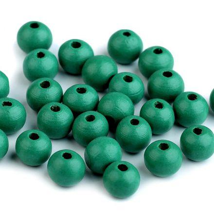 Galanterie: Dřevěné korálky 10 mm (35ks) - zelená
