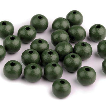 Galanterie: Dřevěné korálky 10 mm (35ks) - tmavě zelená