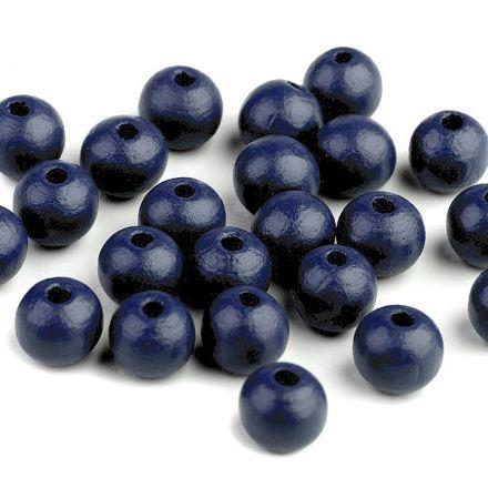 Galanterie: Dřevěné korálky 10 mm (35ks) - tmavě modrá