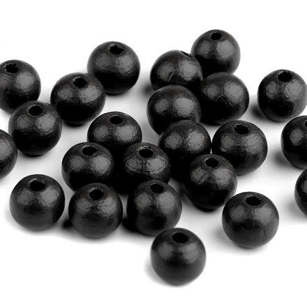 Galanterie: Dřevěné korálky 10 mm (35ks) - černá
