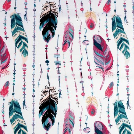 Metráž: Bavlněná látka pírka - růžová